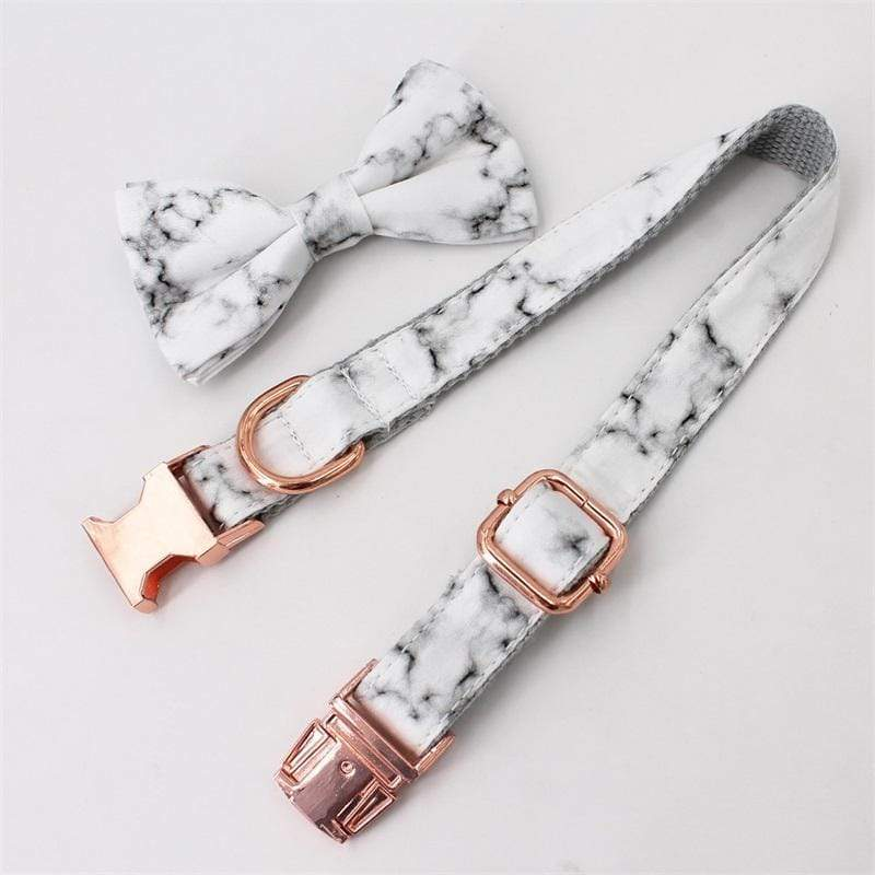 Personalized Design Marble Dog Collar With Bow Tie Set