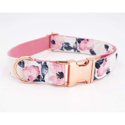 Personalized Flower Deluxe Dog Collar with Rose Gold Metal Buckle