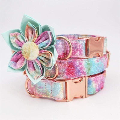 Personalized Galaxy Flower Dog Collar with Rose Gold Metal Buckle