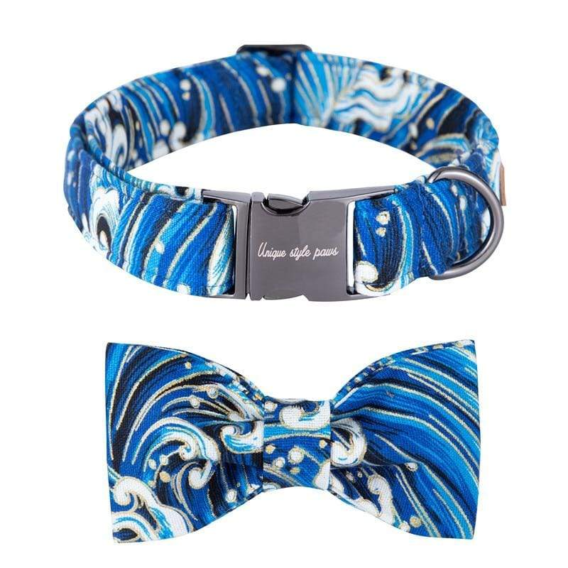 Ocean Waves Dog Collar - Leash and Bow