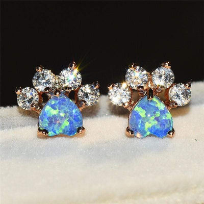 Paw Print Earrings with Colorful Opal Stone For Pet Lovers Limited