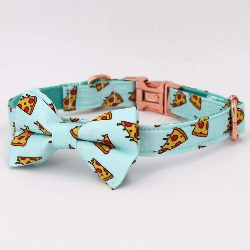 Personalized Pizza Party Dog Collar with Rose Gold Metal Buckle