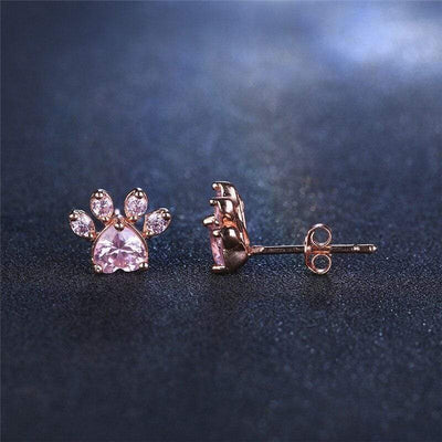 Rose Gold Plated Paw Earring
