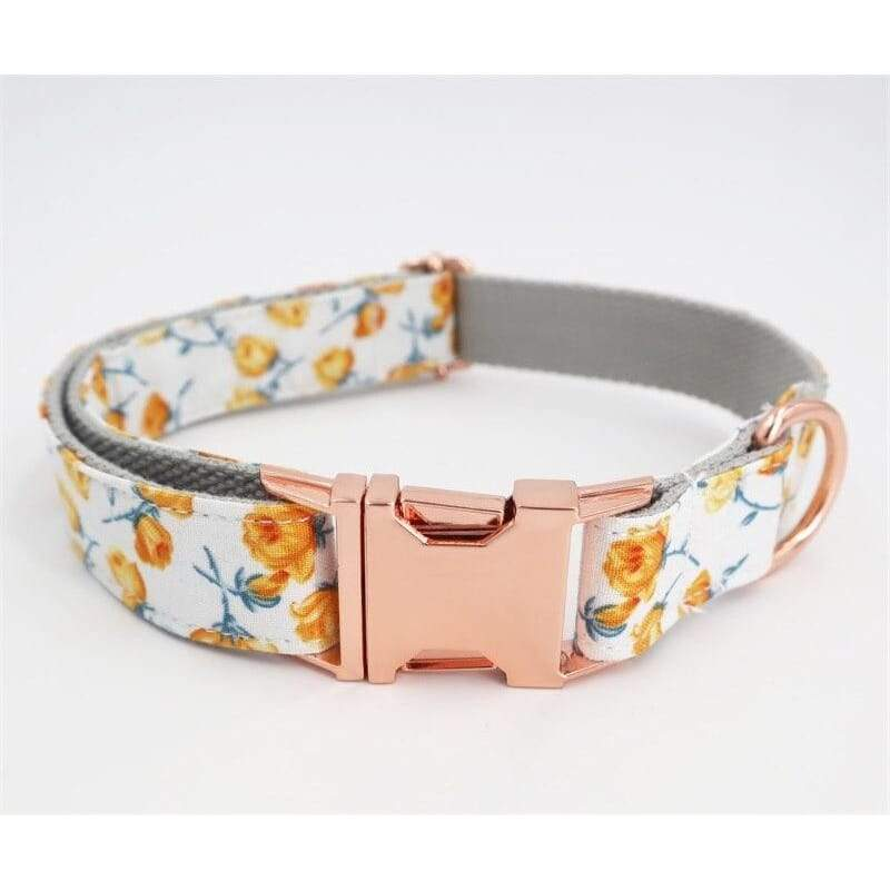 Personalized Sun Flower Dog Collar with Rose Gold Metal Buckle