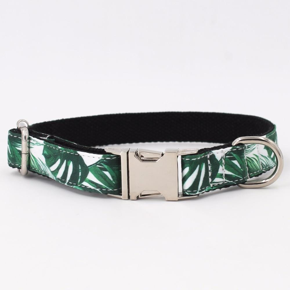 Personalized Tropical Leaves Dog Collar with Bowtie and Leash set