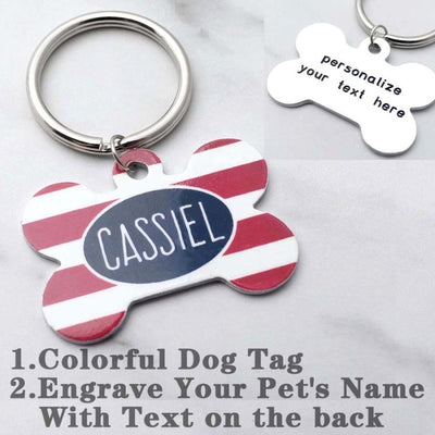Personalized Dog Tag Engraved Floral Flower