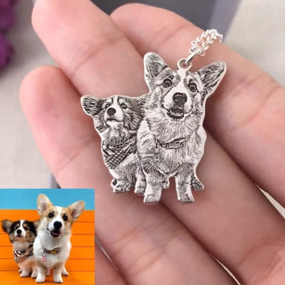 Pet Personalized Amulet Custom Photo Necklace Keychain, Custom Pet Portrait Necklace, Dog, Dogs, Engraved Pet Photo Necklace, Gift