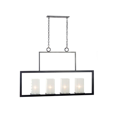 FRAME WITH OYSTER LINEN GLASS CHANDELIER