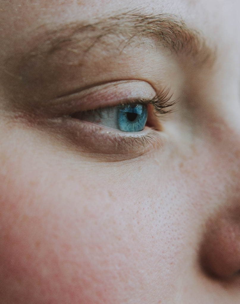 close view pores on a woman's face