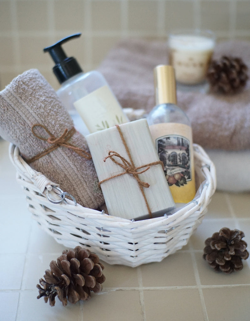 basket of complimentary soaps and lotions