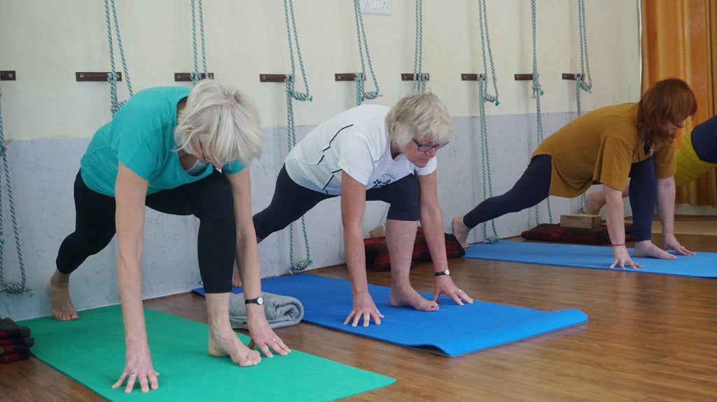 older women attend yoga exercise class