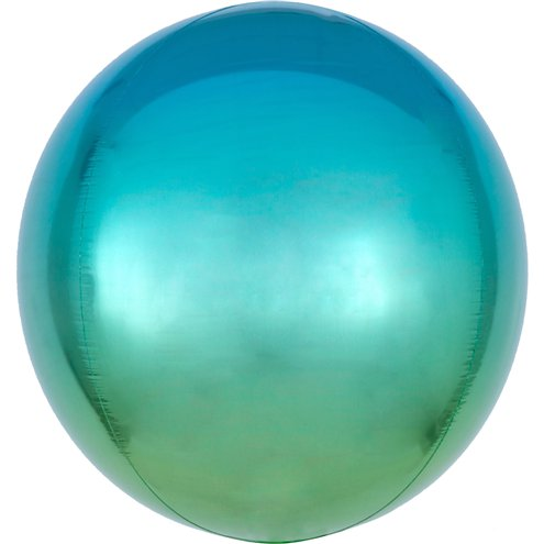 "Ombre Blue & Green Orbz Balloon - 16"" Foil - Meli & Ro 