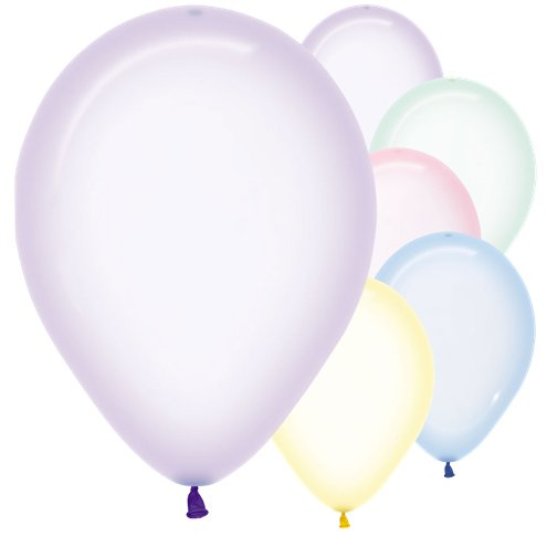 "50 x Pastel Assorted Crystal Balloons - 12"" Latex - Meli & Ro 