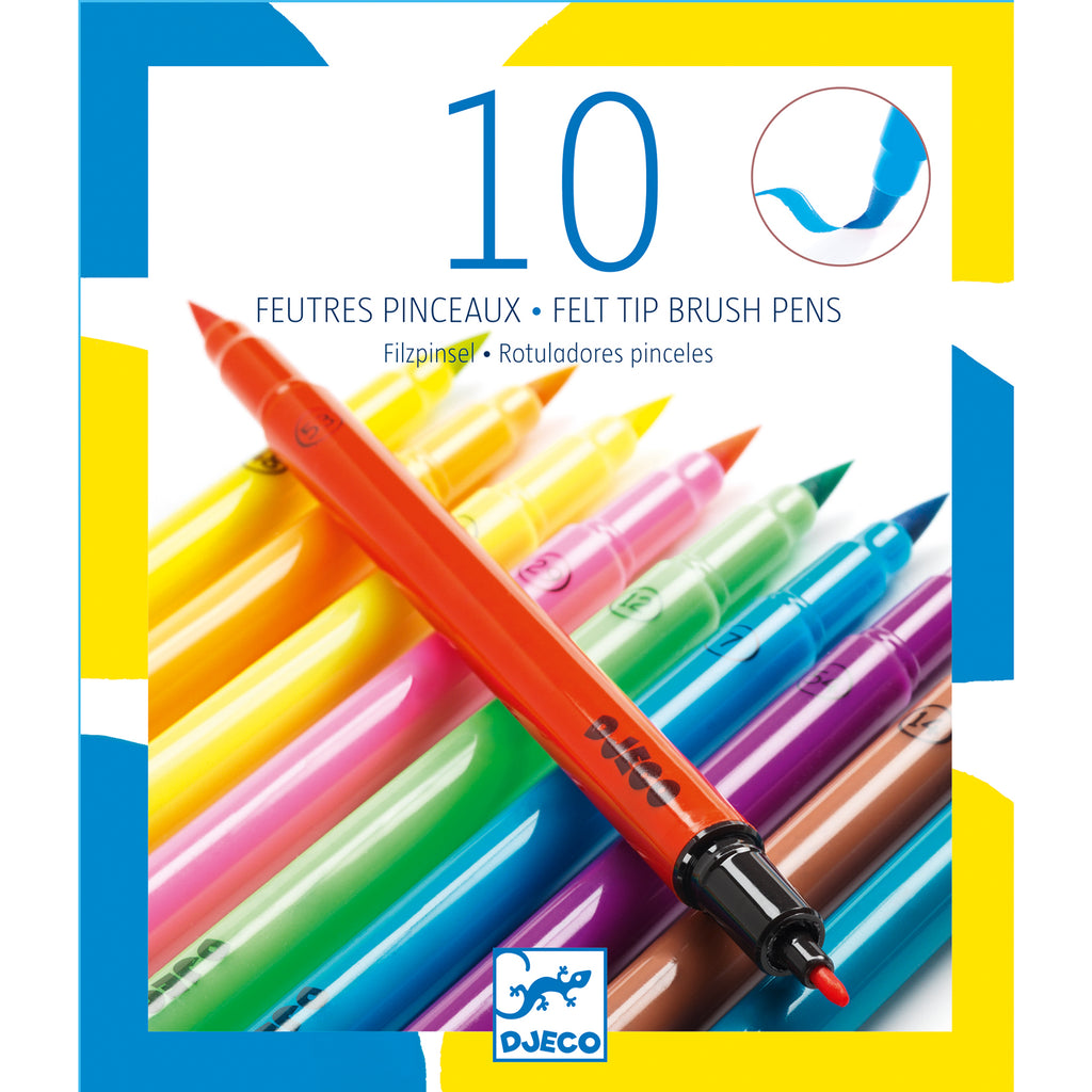 Djeco 10 Brush Markers - Pop - Meli & Ro | Kids Activity Packs