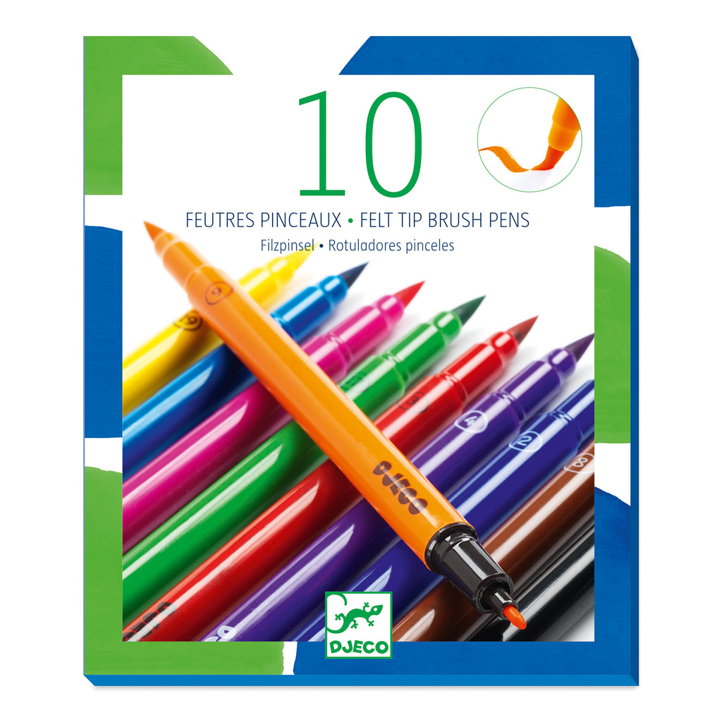 Djeco 10 Brush Markers - Classic - Meli & Ro | Kids Activity Packs