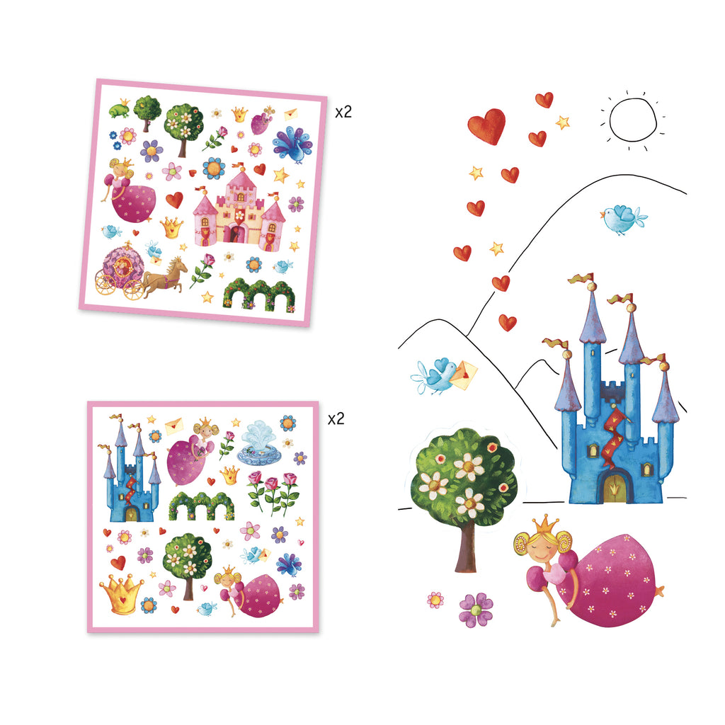 Djeco 160 Stickers - Princess Marguerite - Meli & Ro | Kids Activity Packs