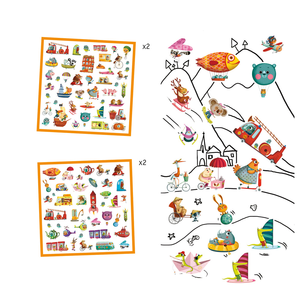 Djeco 160 Stickers - Lets Go! - Meli & Ro | Kids Activity Packs