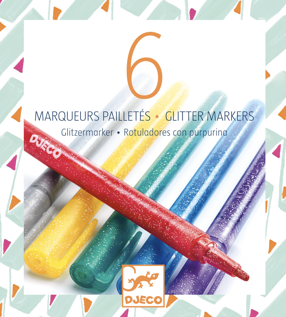 Djeco Glitter Markers - Classic Colours - Meli & Ro | Kids Activity Packs