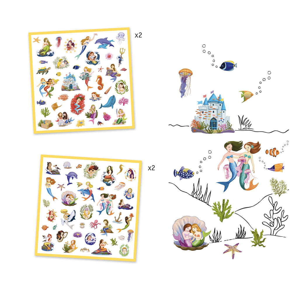 Djeco 160 Stickers - Mermaids - Meli & Ro | Kids Activity Packs
