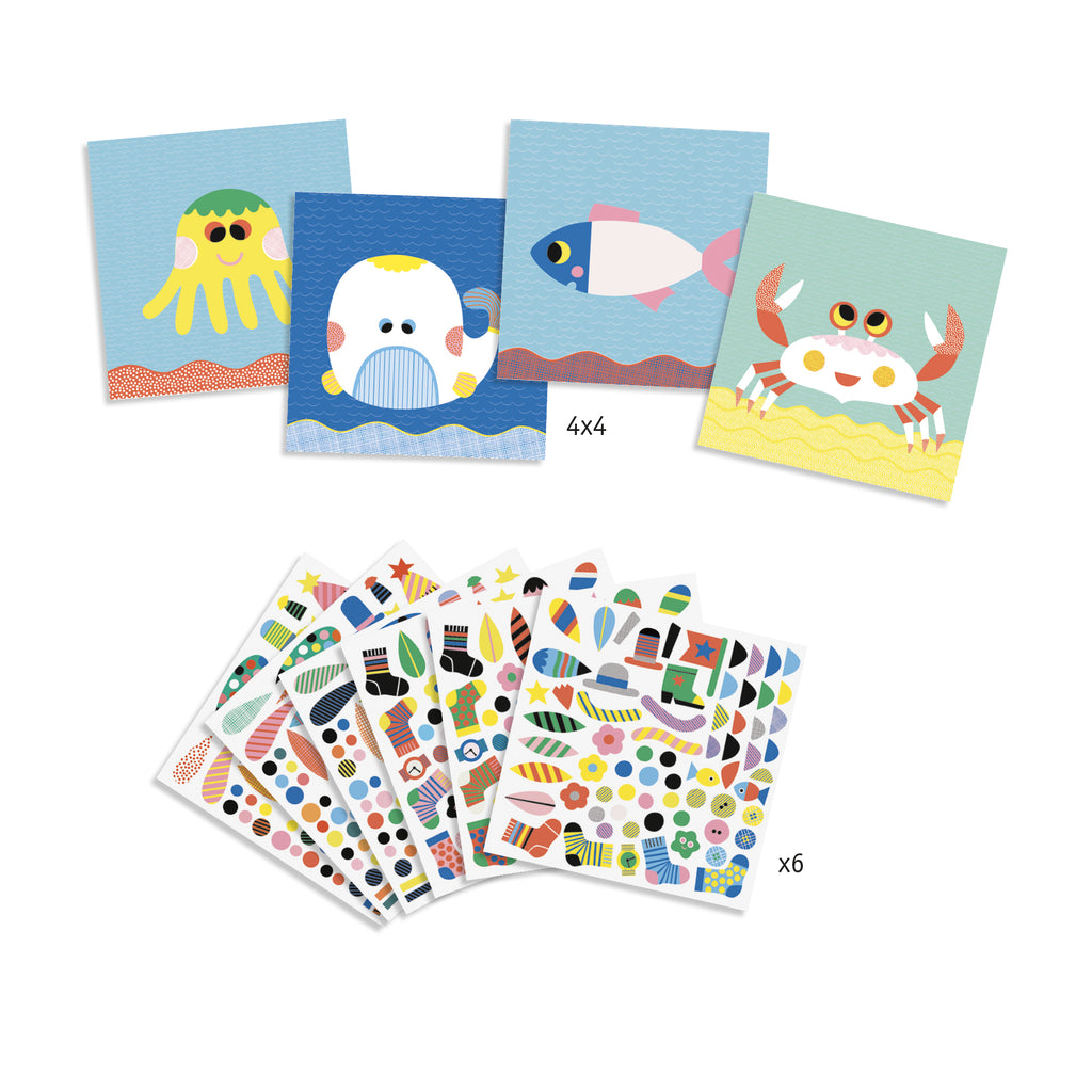 Djeco Stickers - Sea Creatures - Meli & Ro | Kids Activity Packs