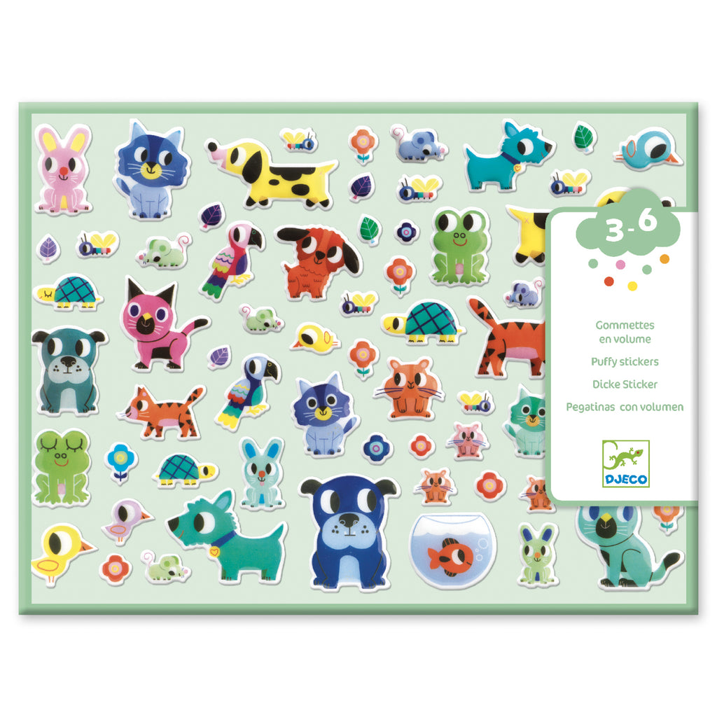Djeco - My Little Friends Puffy Stickers - Meli & Ro | Kids Activity Packs