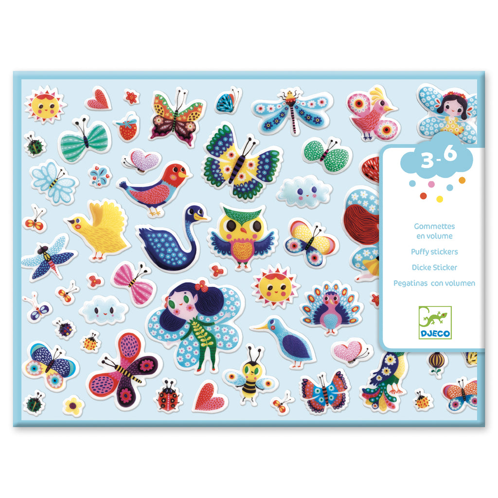 Djeco Little Wings Puffy Stickers - Meli & Ro | Kids Activity Packs