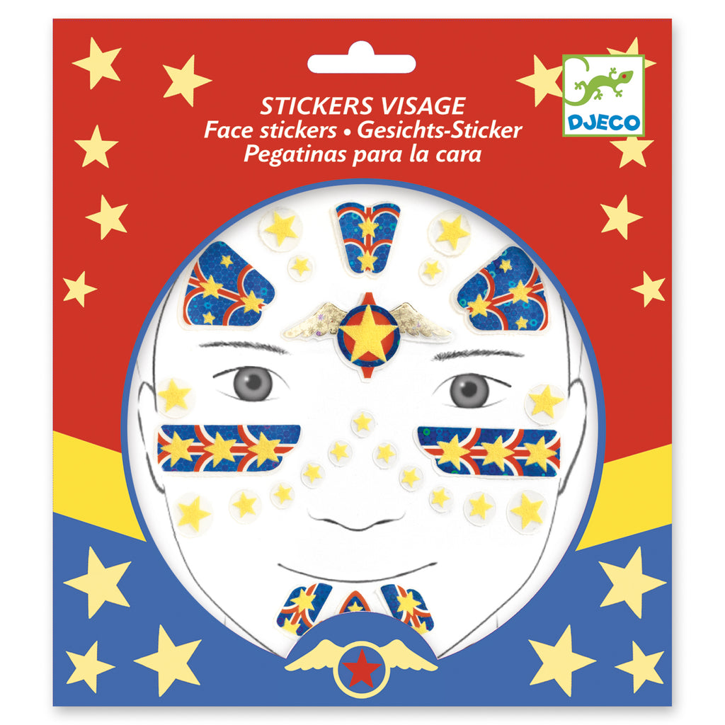 Djeco Face Stickers - Superhero - Meli & Ro | Kids Activity Packs