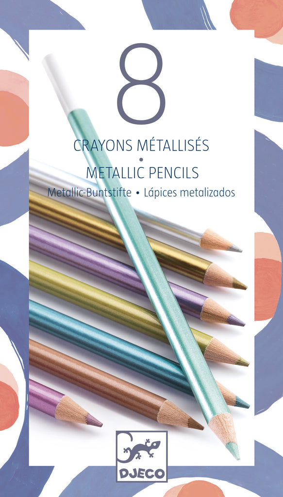 Djeco 8 Metalic Coloured Pencils - Meli & Ro | Kids Activity Packs
