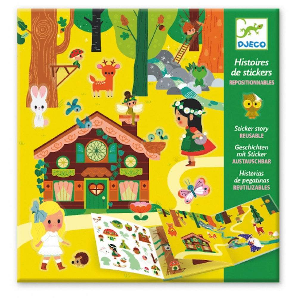 Djeco Sticker Stories - The Magical Forest - Meli & Ro | Kids Activity Packs