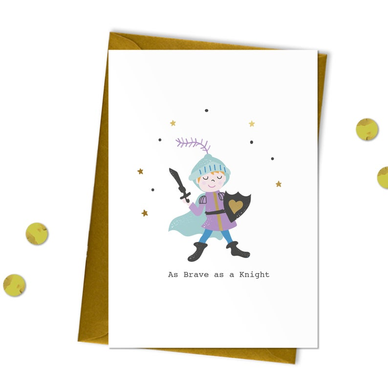 Brave as a Knight - Get Well Card, Encouragement Card, Bravery Card - Meli & Ro | Kids Activity Packs