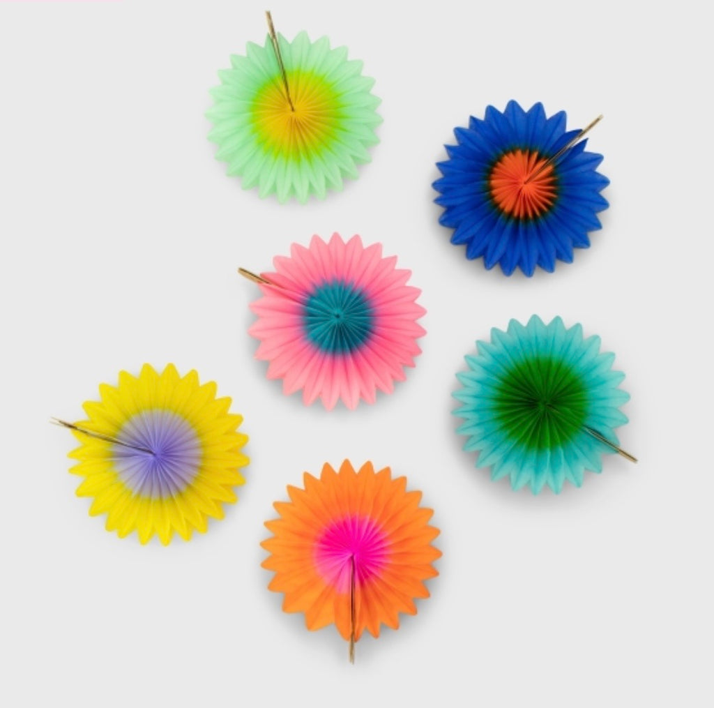 Mini Fan 8cm Pack of 6, Rainbow Two-Tone - Meli & Ro | Kids Activity Packs