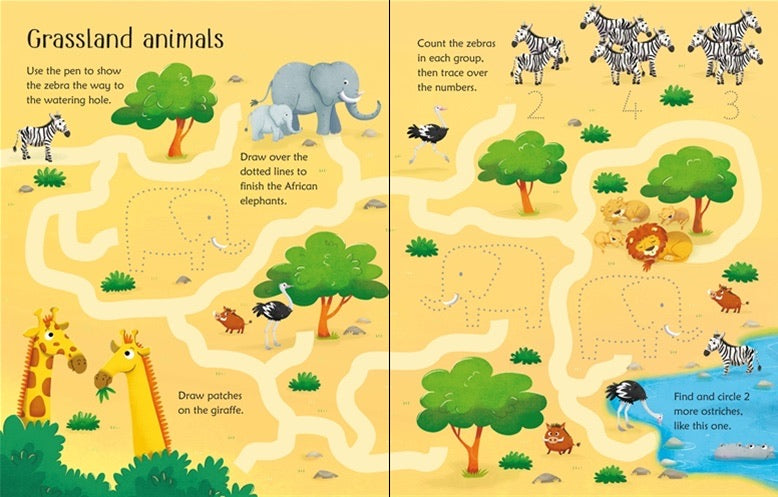 Wipe-clean animal activities book. - Meli & Ro | Kids Activity Packs