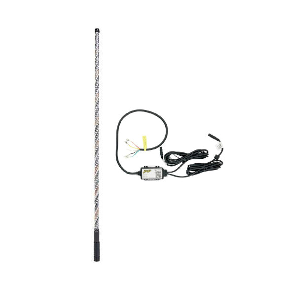 1 - 4' Dynamic RGB LED Whip With Quick Release Base & Stinger Flag and 1 Bluetooth App Controller