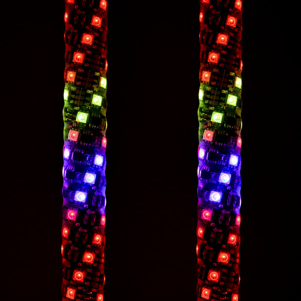2 - 4' Dynamic RGB LED Whip With Quick Release Base & Stinger Flag and 1 Bluetooth App Controller