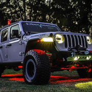 Jeep Wrangler Bluetooth Underglow 8 POD RGB LED Rock Lights Kit With Universal Harness