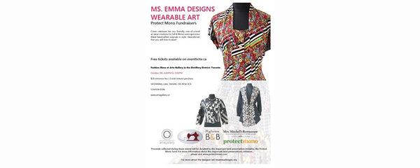 MS. EMMA DESIGNS WEARABLE ART: PROTECT MONO FUNDRAISER - October 9 - 10, 2019