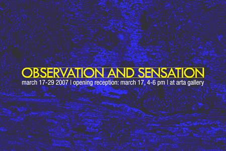 OBSERVATION AND SENSATION - March 17 - 29, 2007