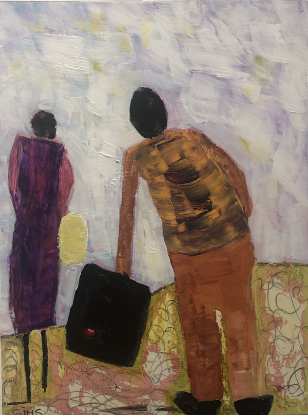 "$2.00 in Her Pocket and Help to Carry Her Cardboard Suitcase 9"" x 12"" Painting L. Sims"