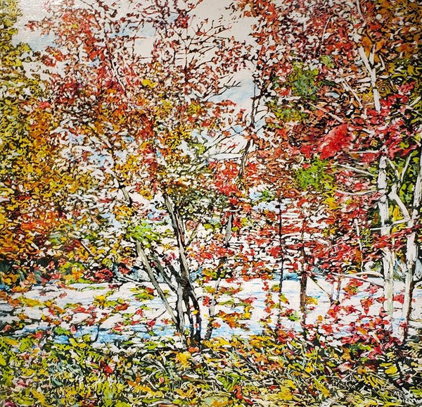 "Autumn on the Pond (Deep Bay Road) (29), 30"" x 30"" Painting M. Zarowsky"