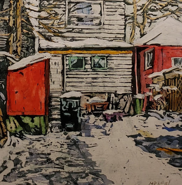 Backyard with Red Shed Painting M. Zarowsky