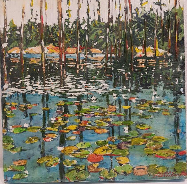 "Beaver Pond with Lilies (Georgian Bay), 16"" x 16"" Painting M. Zarowsky"