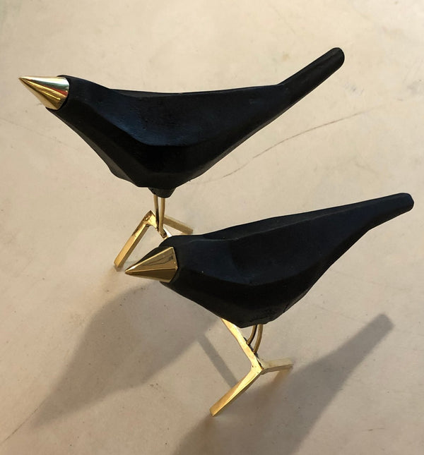 "Black Metal Crow couple with Gold Feat and Beak, 9"" x 8 ""x 10"" Sculpture Reza"