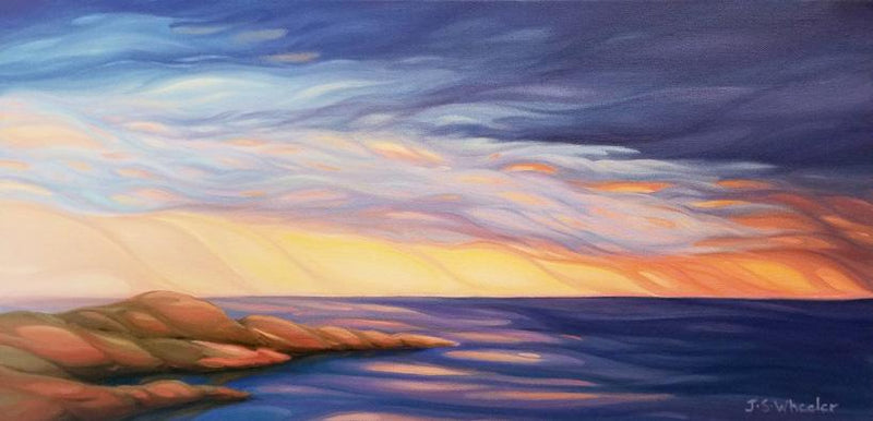 "Cold Rains of Lake Superior, 12"" x 24"" Painting J. Wheeler"