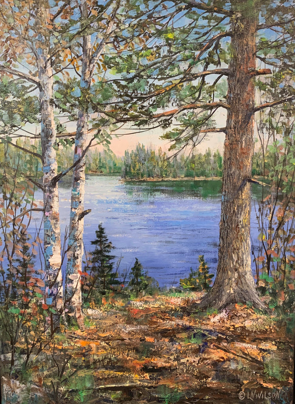 "Lakeside, 24"" x 18"" Painting L. Wilson"