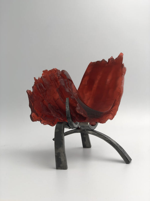 "Red Sky, 8"" x 8"" x 7"" Sculpture J. Davidson"