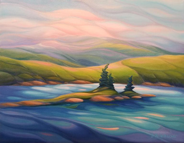 "Serene Bell Lake, 16"" x 20"" Painting J. Wheeler"