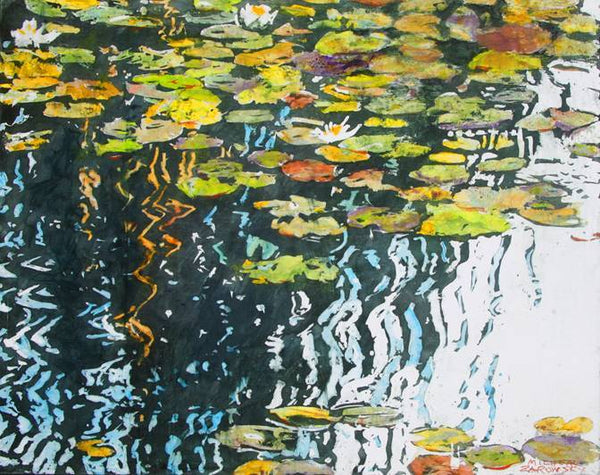 "Waterlilies on a Day Full of Deep Reflections 2, 16"" x 20"" Painting M. Zarowsky"
