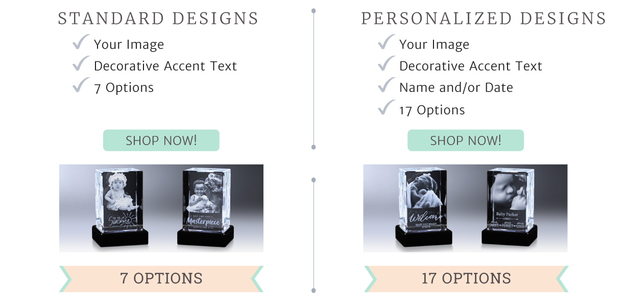 Image showing standard and personalized designs for crystal photo gifts featuring babies and children