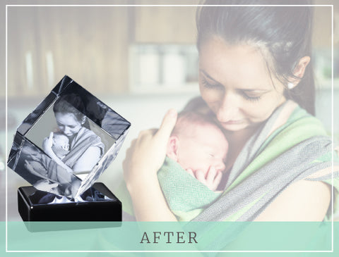 "Mom and newborn baby with crystal photo gift and text reading ""After"""