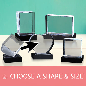 """Five shapes of crystal photo gifts on bases with a red box overlay and text reading """"Choose a shape and size"""""""
